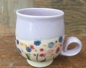 Color Changing Porcelain Tea Cup with Wildflower Mocha Diffusion - Handmade Wheel Thrown Cappuccino Latte Mug in Pink, Blue, Purple 16 oz