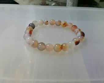 Red flower agate beaded bracelet