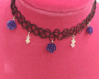 Purple Rose Tattoo Choker Necklace