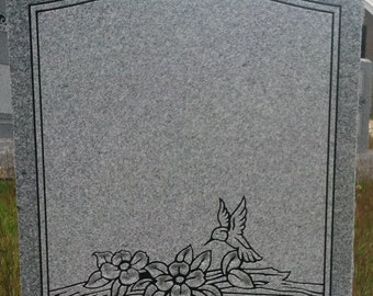 Gray Granite Headstone with Base Hummingbird Memorial Grave Marker Tombstone