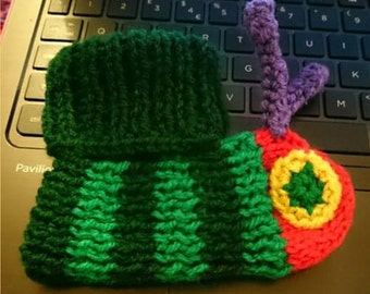 Knitted Very Hungry Caterpillar Inspired Booties