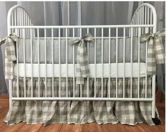 Stone grey bumpers with buffalo check ties, unique baby bedding sets, country style, luxury