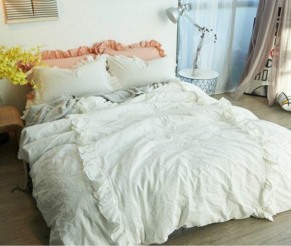 White ruffle duvet cover set pima cotton 300tc sateen weave for Pima cotton comforter