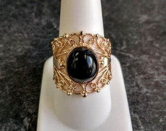 Onyx 14k Yellow Gold Vintage Filigree Statement Ring