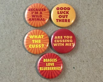 Fantastic Mr. Fox Wes Anderson Movie Fan Art 5 - 1 or 1.25 Inch Pinback Button Pin Badge Set