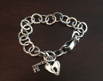 Sterling silver rustic handcrafted link bracelet with heart-lock key charm