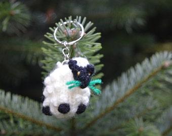 Sheep Keyring, Sheep Keychain, Hand Knitted Sheep, Farm animal