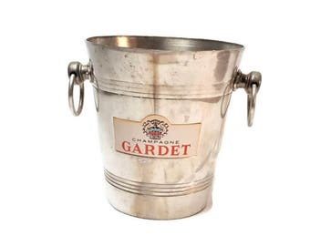 Aluminum champagne bucket GARDET, vintage, French wine