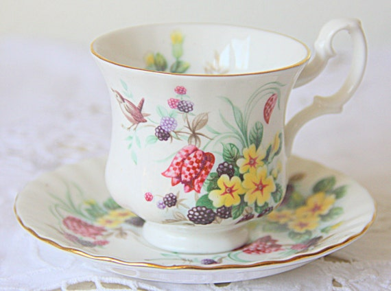 Hard To Find Vintage Royal Albert Bone China Country Life Series 'Spring Woods' Pattern Cup and Saucer, Lady Size, England