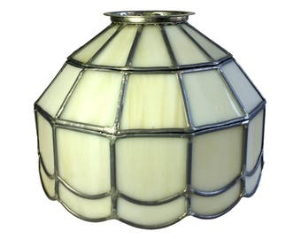 White Leaded Glass Ceiling Lighting Fixture Pull Chain