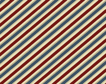 Shave and Haircut - Barber Stripes Red/Blue - Sold by the Half Yard