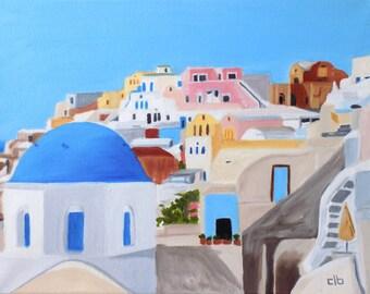 Santorini Painting, 14 x 11, Original Art, Oil Painting, Greek Island Painting, Cityscape Painting, Colorful City Painting, Greek Wall Art