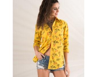 Cotton Shirt Yellow Bikes