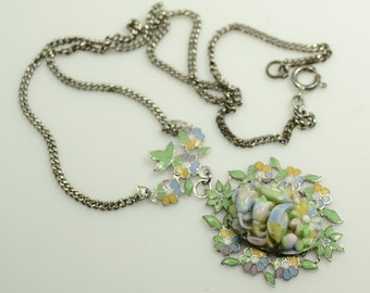 1940s Coro Enamel and Carved Art Glass Pendant on Silver Tone Chain