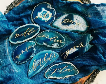 Beautiful agate slices place cards / escort cards - organic, natural, custom