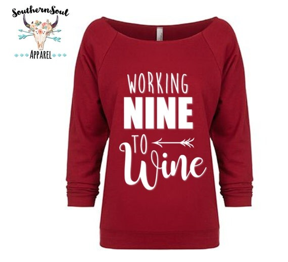 Working Nine To Wine 3/4 Sleeve Raw Edge Raglan, Long Sleeve, Country Shirt, Country T Shirt, Country Long Sleeve, Country Concert