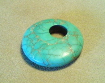 Turquoise donut pendant; stunning turquoise Magnesite, gogo pendant, pyrite veining, UNDRILLED, 36x6mm, 1pc/5.80.