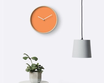 The Orange Sun Wall Clock Tangerine  Pantone Color Office Decor Dorm Room Wall Art Nursery Gift