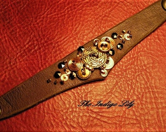 Brown Leather Cuff w/ Mixed Metal Design / Snap Closure / Leather Lined / Multiple Sizes