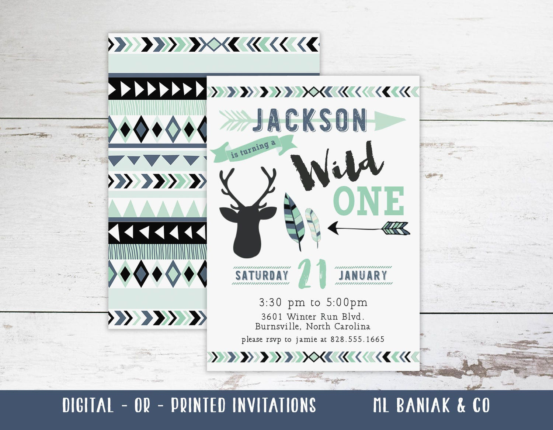 Wild One Birthday Invitation, First Birthday Invitation, Aqua, Blue ...