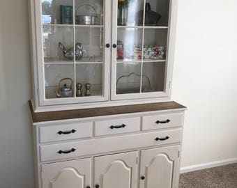 Refinished Antique China Closet Hutch Distressed