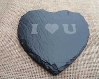 'I heart U'  Slate Heart Coaster.