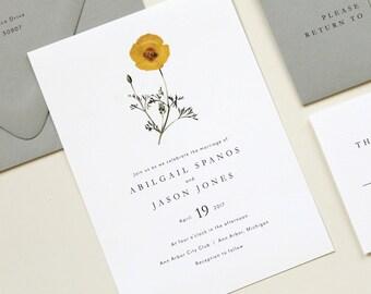 Botanical Wedding Invitation, Vintage Modern Wedding Invitation, Simple Modern Wedding Invite, Gray Yellow Wedding Theme, Modern Botanical