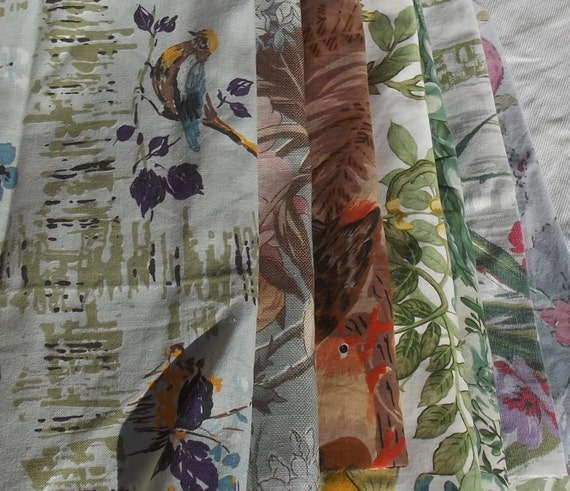 Beautiful pieces of Vintage French Chinoiserie fabric Songbirds Wisteria Peonies material