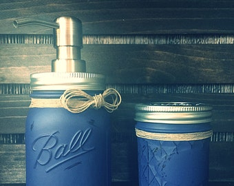 Navy Painted Mason Jar Soap Dispenser - Bathroom Set - House Warming Gift - Wedding Shower Gift - Rustic Decor - Toothbrush Holder