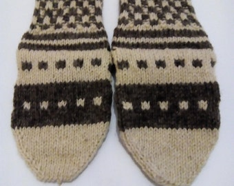 Women's wool socks, Home shoes, Cozy and comfortable soks, Gray and white yarn, Gift for her