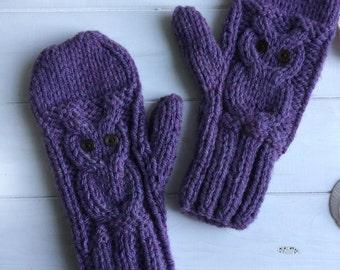 READY KNIT - Owl mittens  -  chunky/bulky wool rich yarn- purple