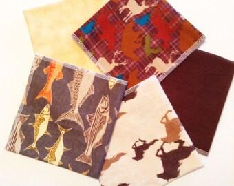 Mens Handkerchiefs, Set of 5, Fisherman, Hunter Prints, Flannel Handkerchiefs,Reusable Tissues,Hankies,Gift for Dad,Gift MH605