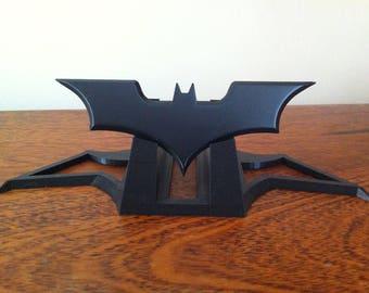 3D printed Batman Batarang on a stand