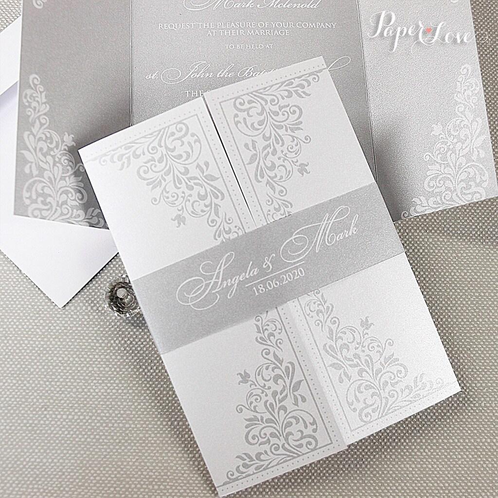 Ornamental Gatefold Wedding Day Invitation with Band High Quality ...