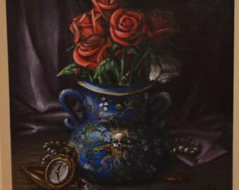 12 X 12 Original acrylic painting 'Hamlet Inspired' Still Life