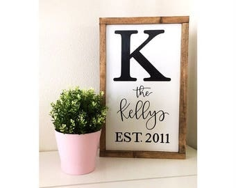Family name framed wood sign//wood sign//family name sign