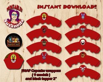 FNAF Wrapper and topper / 5 Nights at Freddys  / FNAF Party Supplies / FNAF Party Printables  / 5 Nights at Freddys Instant Download!!