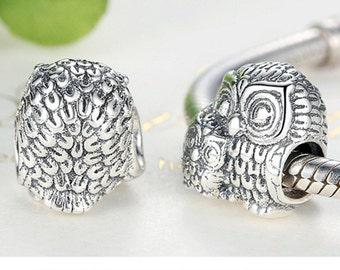 Sterling 925 silver charm owl bead pendant fits Pandora charm and European charm bracelet