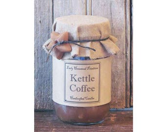 Primitive Candle, Country Candle, Rustic Candle, Kettle Coffee Scented Jar Candle