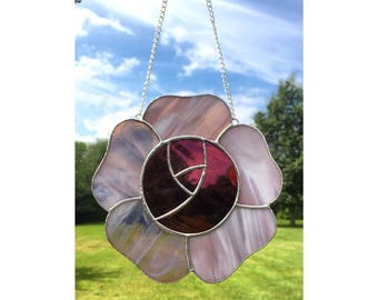 Stained Glass Pink Rose Flower Sun-Catcher Decoration Gift