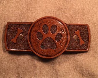 Leather hair barrette - Hand tooled medium brown with Dog/Puppy Paw Print design