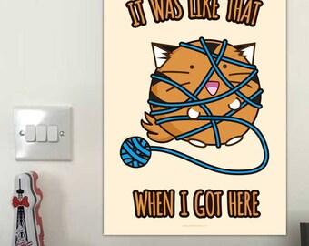 Es como que cuando llegué aquí arte de pared de impresión Fuzzballs Gato divertido dormitorio hilados tigre ilustración oficial Kawaii lindo regalo presente
