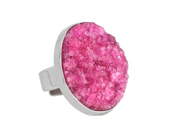 Pink Druzy Ring, sterling silver, statement ring, druzy jewelry, pink ring, gemstone ring, adjustable ring, silver ring, stone ring