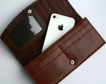 Womens Wallet, Leather Wallet, Brown Wallet,  Brown Purse, Stone Printed Leather Purse, Stone Printed Leather Wallet.