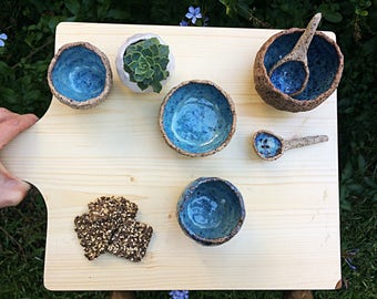 Galaxy blue serving dish set