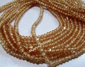 AAA Quality Champagne color Cubic Zircon Beads , 2.5mm Size Rondelle Faceted CZ Beads , Strand 13.5 inch long , Light Brown Color CZ Beads