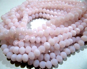AAA Quality Hydro Quartz Pink Rondelle Faceted Beads , Size 6mm Pink Chalcedony Beads , approx 100 Beads per Strand, Hydro Rose Quartz Beads