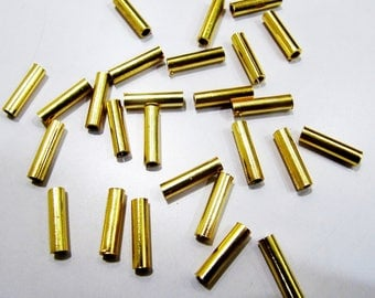 Set of 10 Pieces- Round Tube Shape Metal Beads , Gold Plated Smooth Beads , Handmade Spacer Beads 13x3mm , Wholesale Price.