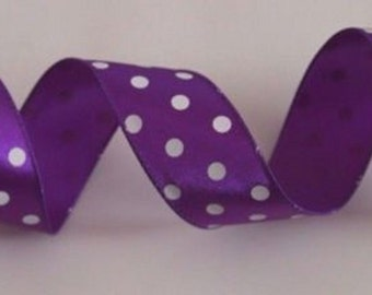 "5 Yards Purple White Polka Dot 1.5"" Wire Edge Ribbon Spring, Gift, Wedding, Wreaths, Bows, Home Decor 1 1/2"" Wide Wired Ribbon"