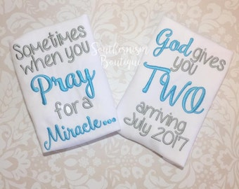 Twin Announcement, Twin Set, Twin Bodysuits, Take home outfit, twin outfits, pray for a miracle, you get two, little brothers, twin boys